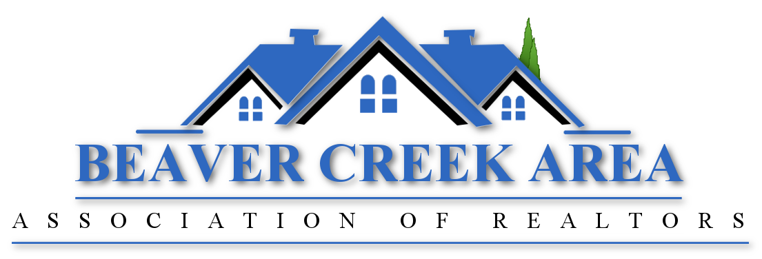 A blue house that encompasses the words, 'Beaver Creek Area Association of Realtors'